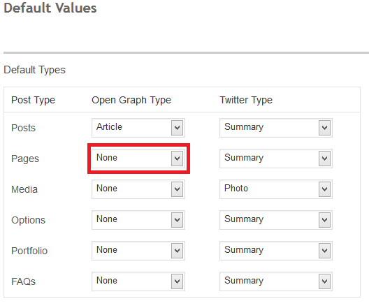 Default Values SEO
