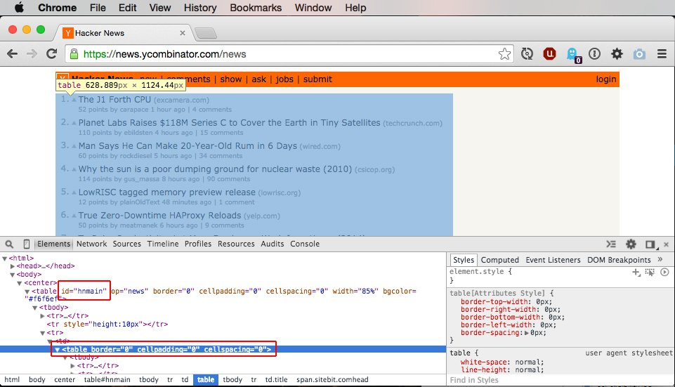 Open Chrome Inspector Tools and examine the page